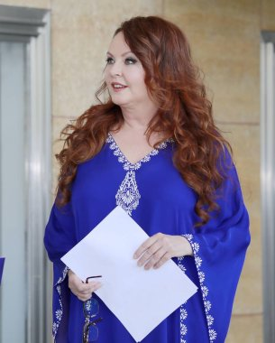 English soprano Sarah Brightman attends a press conference for the