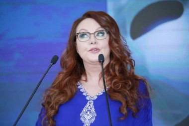 English soprano Sarah Brightman speaks during a press conference for the
