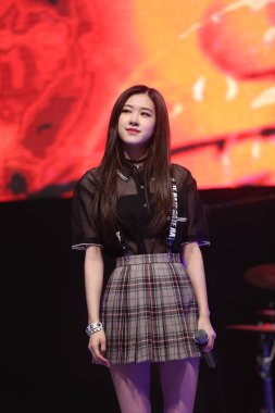A member of South Korean girl group BLACKPINK attends a fan meeting in Seoul, South Korea, 17 May 2017.