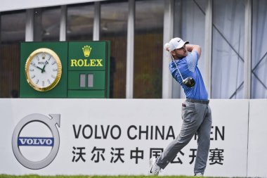 Jordan Smith of England competes in the final round of the 2018 Volvo China Open golf tournament in Beijing, China, 29 April 2018