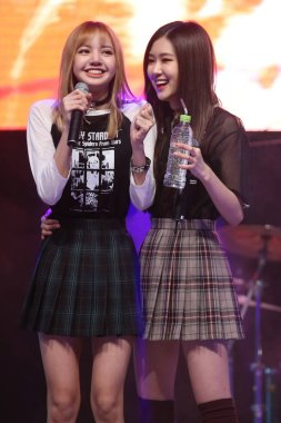 Members of South Korean girl group BLACKPINK attend a fan meeting in Seoul, South Korea, 17 May 2017.