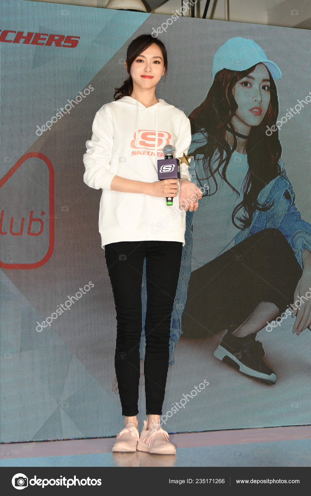 d24eb309af6c Chinese actress Tiffany Tang or Tang Yan attends a promotional event for  Skechers in Shanghai