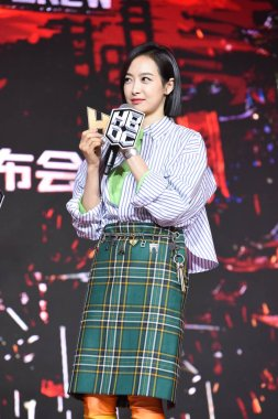 Chinese singer and actress Victoria Song or Song Qian attends a press conference for the reality talent TV show