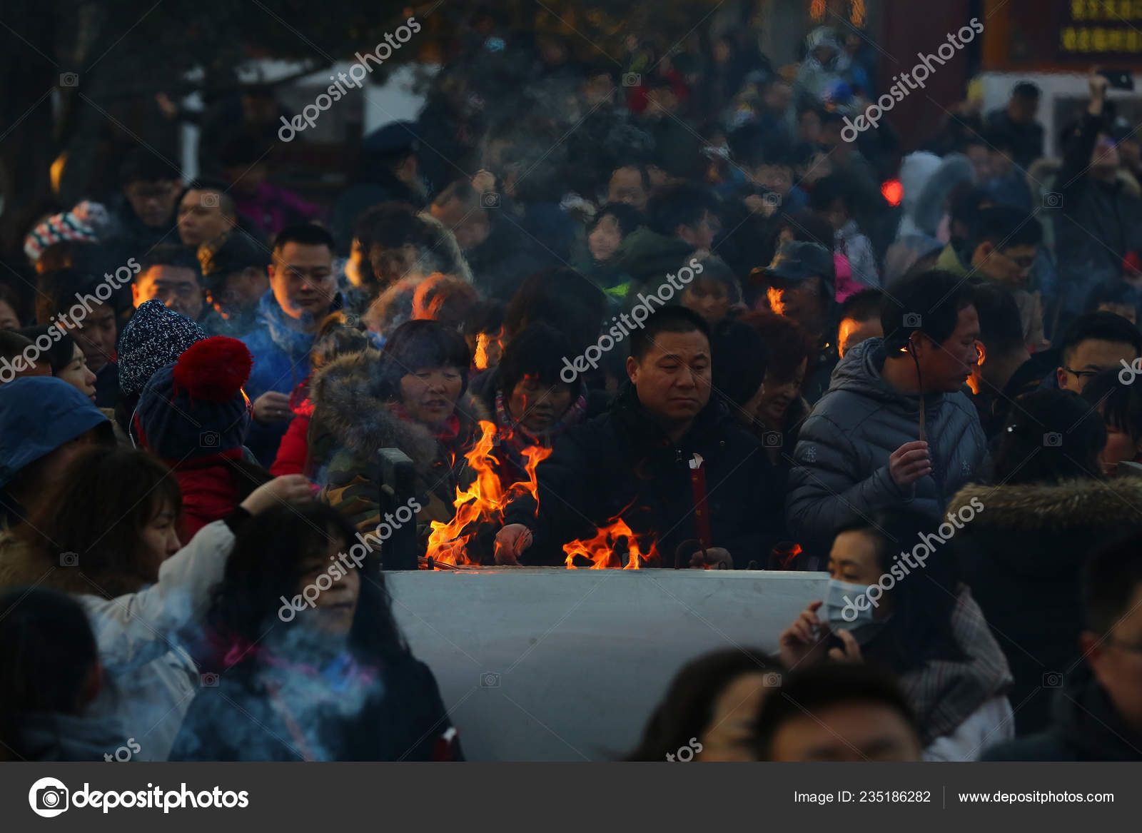 Chinese Worshippers Burn Incense Sticks Pray Good Luck First Day