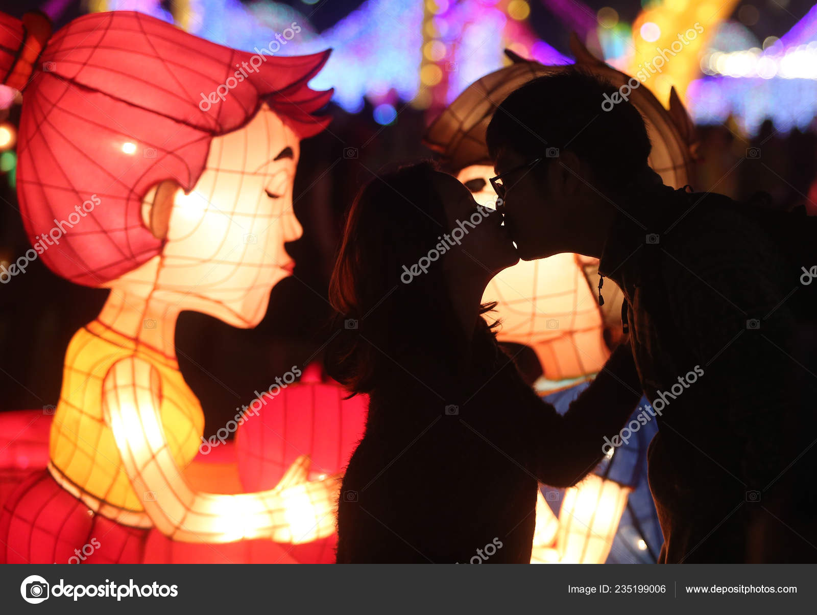 Taiwan Out Couple Kisses Front Illuminated Lanterns Annual Pingxi Sky Stock Editorial Photo C Chinaimages 235199006