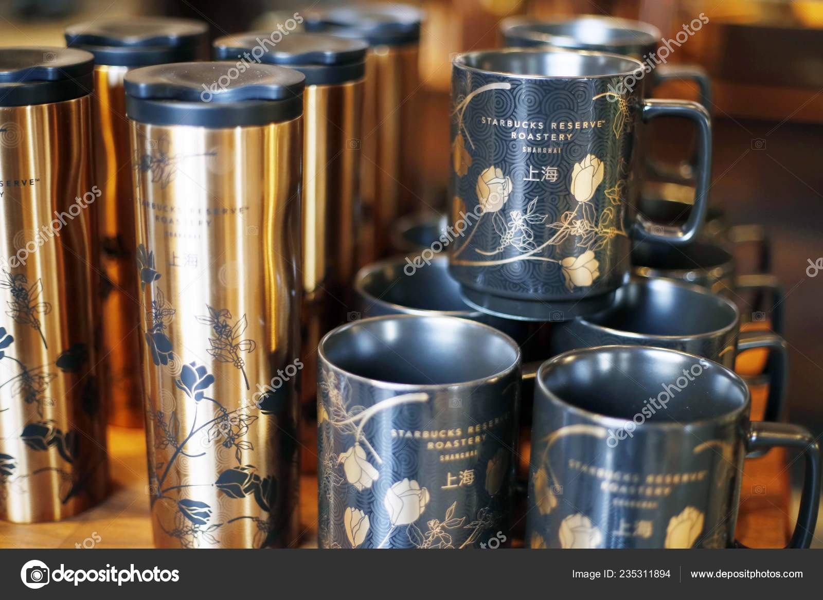 Cups Mugs Sale World Largest Starbucks Reserve Roastery Shanghai China Stock Editorial Photo C Chinaimages 235311894