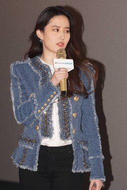 Chinese actress Liu Yifei attends a promotional event for her movie
