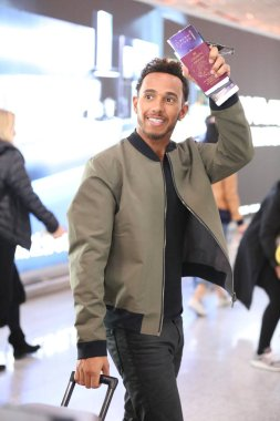 British F1 driver Lewis Hamilton of Mercedes is pictured as he arrives at the Beijing Capital International Airport in Beijing, China, 3 April 2017.