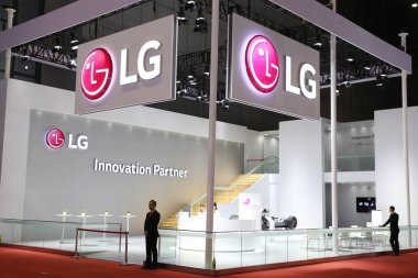 View of the stand of LG during the 17th Shanghai International Automobile Industry Exhibition, also known as Auto Shanghai 2017, in Shanghai, China, 21 April 2017.