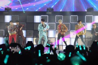 Members of South Korean boy group SHINee perform at their concert in Hong Kong, China, 20 May 2017.