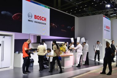 People visit the stand of Bosch during the Consumer Electronics China 2017, also known as CE China 2017, in Shenzhen city, south China's Guangdong province, 4 May 2017