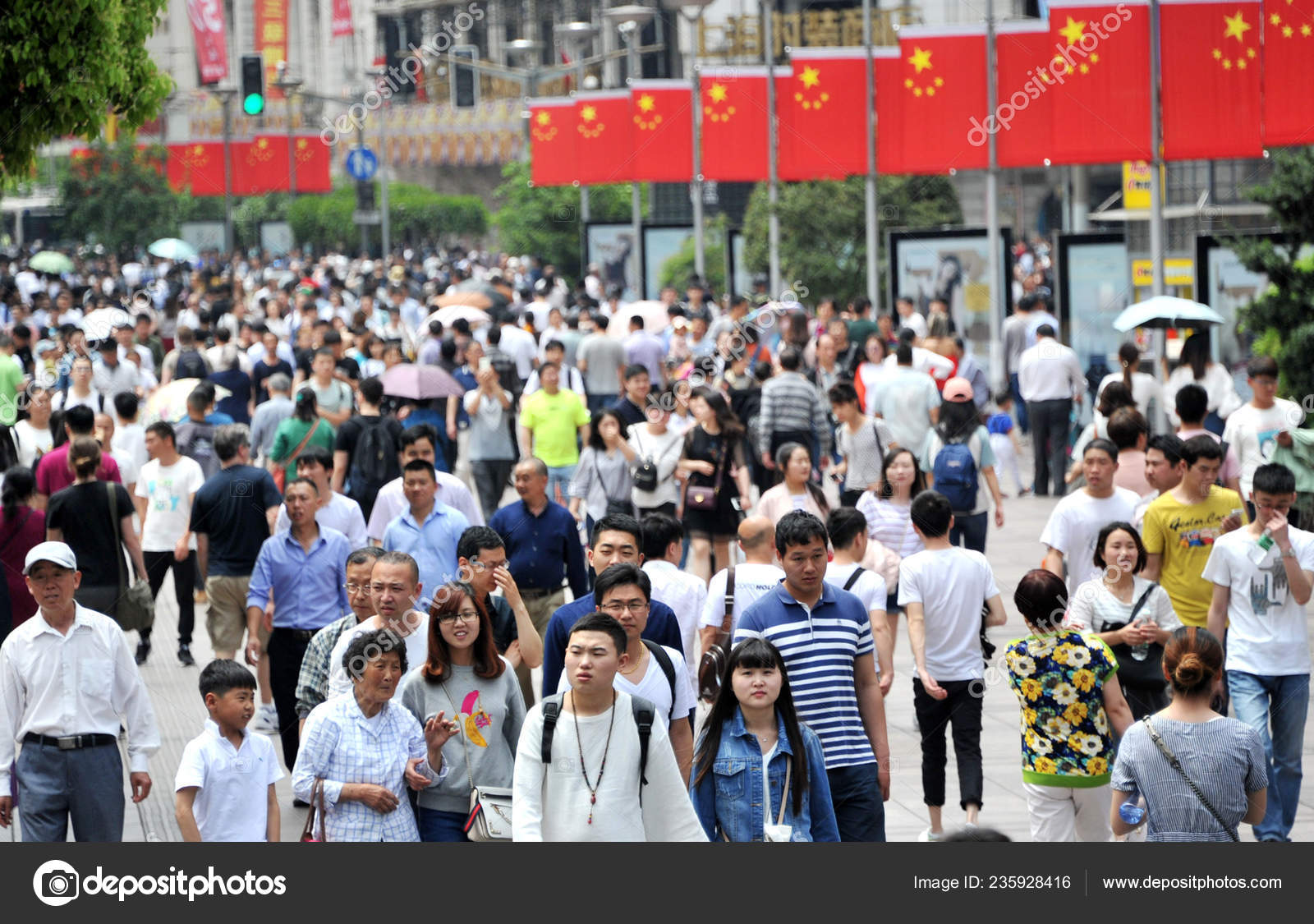 Tourists Crowd Nanjing Road Shopping Street Labor Day Holiday