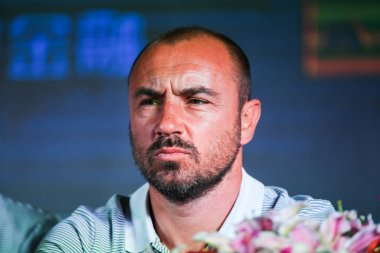 Former Italian football player Cristian Brocchi attends the press conference of Fabio Capello joining Jiangsu Suning F.C. as new head coach in Nanjing city, east China's Jiangsu province, 14 June 2017.