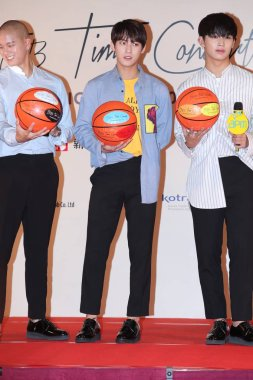 (From left) Peniel Shin, Lee Min-hyuk and Im Hyun-sik of South Korean boy group BTOB attend a press conference for