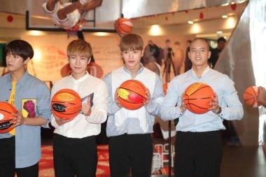 (From left) Lee Min-hyuk, Seo Eunkwang, Yook Sung-jae and Peniel Shin of South Korean boy group BTOB attend a press conference for