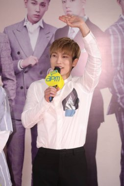 Seo Eunkwang of South Korean boy group BTOB attends a press conference for