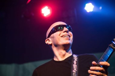 American guitarist Joe Satriani performs during a concert in Shanghai, China, 14 February 2017.