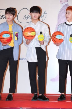 (From left) Lee Min-hyuk, Im Hyun-sik and Jung Il-hoon of South Korean boy group BTOB attend a press conference for