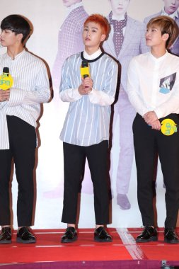 (From left) Im Hyun-sik, Jung Il-hoon and Seo Eunkwang of South Korean boy group BTOB attend a press conference for