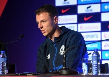 Northern Irish football player Jonny Evans of West Bromwich Albion F.C. attends a press conference for the 2017 Premier League Asia Trophy against Leicester City in Hong Kong, China, 18 July 2017