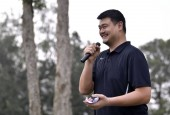 Retired Chinese basketball star Yao Ming, chairman of the Chinese Basketball Association (CBA), speaks during the 2017 Yao Foundation Golf Charity Game in Hong Kong, China, 31 July 2017