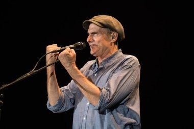 American singer-songwriter James Taylor performs during a concert in Hong Kong, China, 23 February 2017.