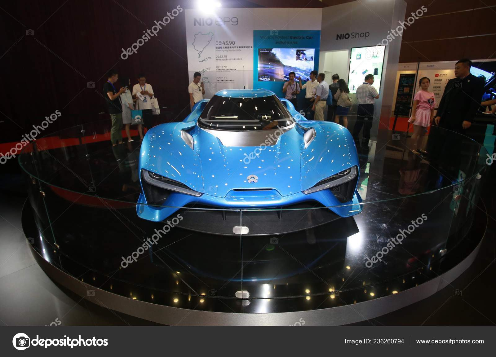 Visitors Look World Fastest Electric Supercar Nextev Nio Ep9 Displayed Stock Editorial Photo C Chinaimages 236260794