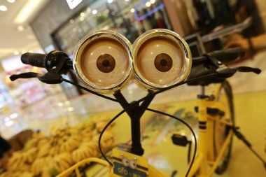 A Minions-themed bicycle of Chinese bike-sharing service ofo promoting the movie