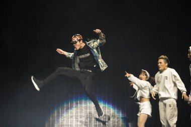 Jackson Wang of South Korean boy group GOT7 performs  during the Asian Music Gala 2017 in Guangzhou city, south China's Guangdong province, 19 July 2017.
