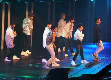 Members of Chinese-South Korean boy group EXO perform during the SMtown Special Stage in Hong Kong at the Hong Kong Coliseum in Hong Kong, China, 5 August 2017.