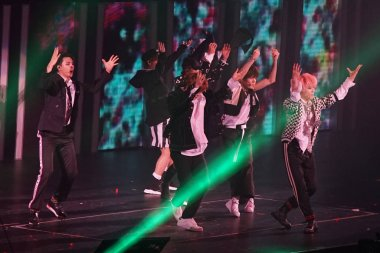 Members of South Korean boy group NCT 127 perform during the SMtown Special Stage in Hong Kong at the Hong Kong Coliseum in Hong Kong, China, 5 August 2017.
