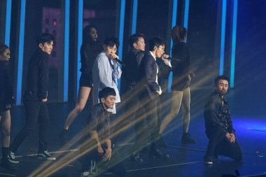 Members of South Korean boy group Super Junior perform during the SMtown Special Stage in Hong Kong at the Hong Kong Coliseum in Hong Kong, China, 5 August 2017.