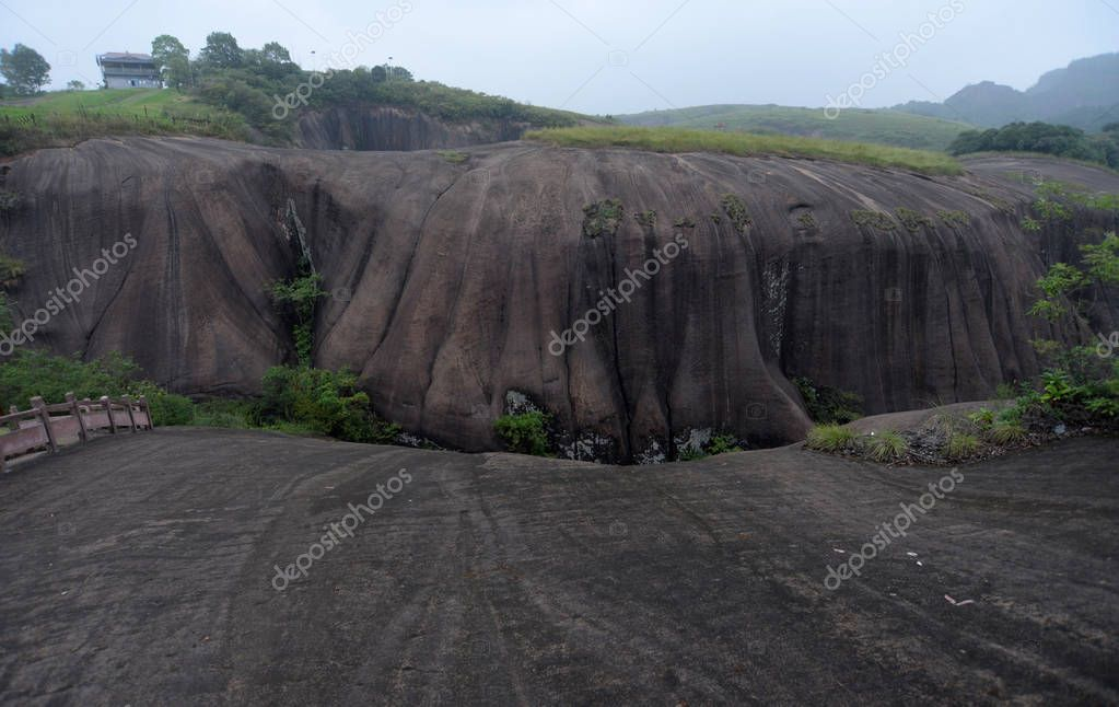 View of the micro-Danxia landform landscape featuring fingers with apparent joints and clear-cut fingerprints, called as ''God's fingers'', in Feitian Mountain Tourist Resort in Binzhou city, central China's Hunan province, 7 September 2017