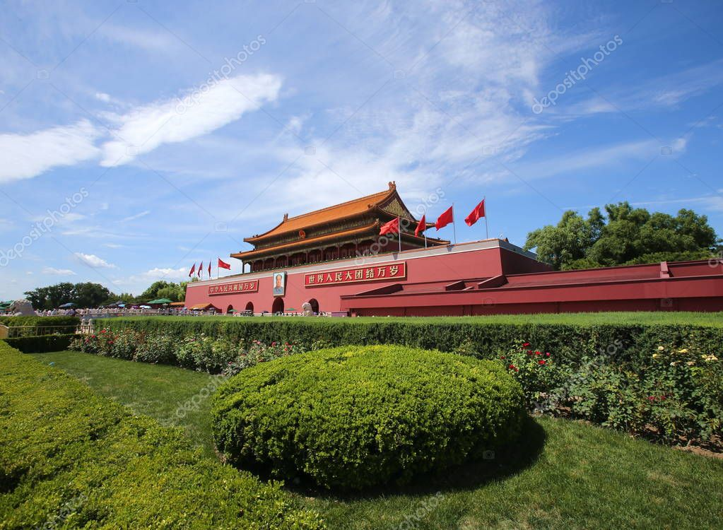 Landscape of the Tian'anmen Square on a clear day in Beijing, China, 7 August 2017.