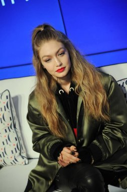 American model Gigi Hadid attends a fashion event by Tommy Hilfiger in Shanghai, China, 14 October 2016.