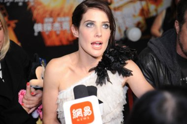 Canadian actress Cobie Smulders is interviewed during a premiere event for her new movie