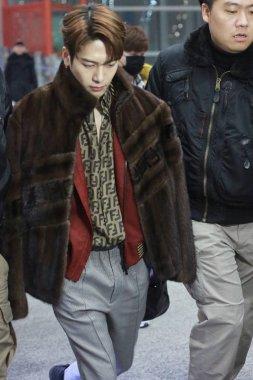 Hong Kong singer and actor Jackson Wang of South Korean boy group GOT7 arrives at the Beijing Capital International Airport in Beijing, China, 13 January 2019.
