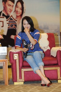 Chinese actress and singer Victoria Song attends a press conference to promote her new movie