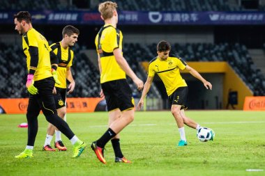 Footballers of Borussia Dortmund take part in a training session for the Shenzhen match of the 2016 International Champions Cup China in Shenzhen city, south China's Guangdong province, 27 July 2016.