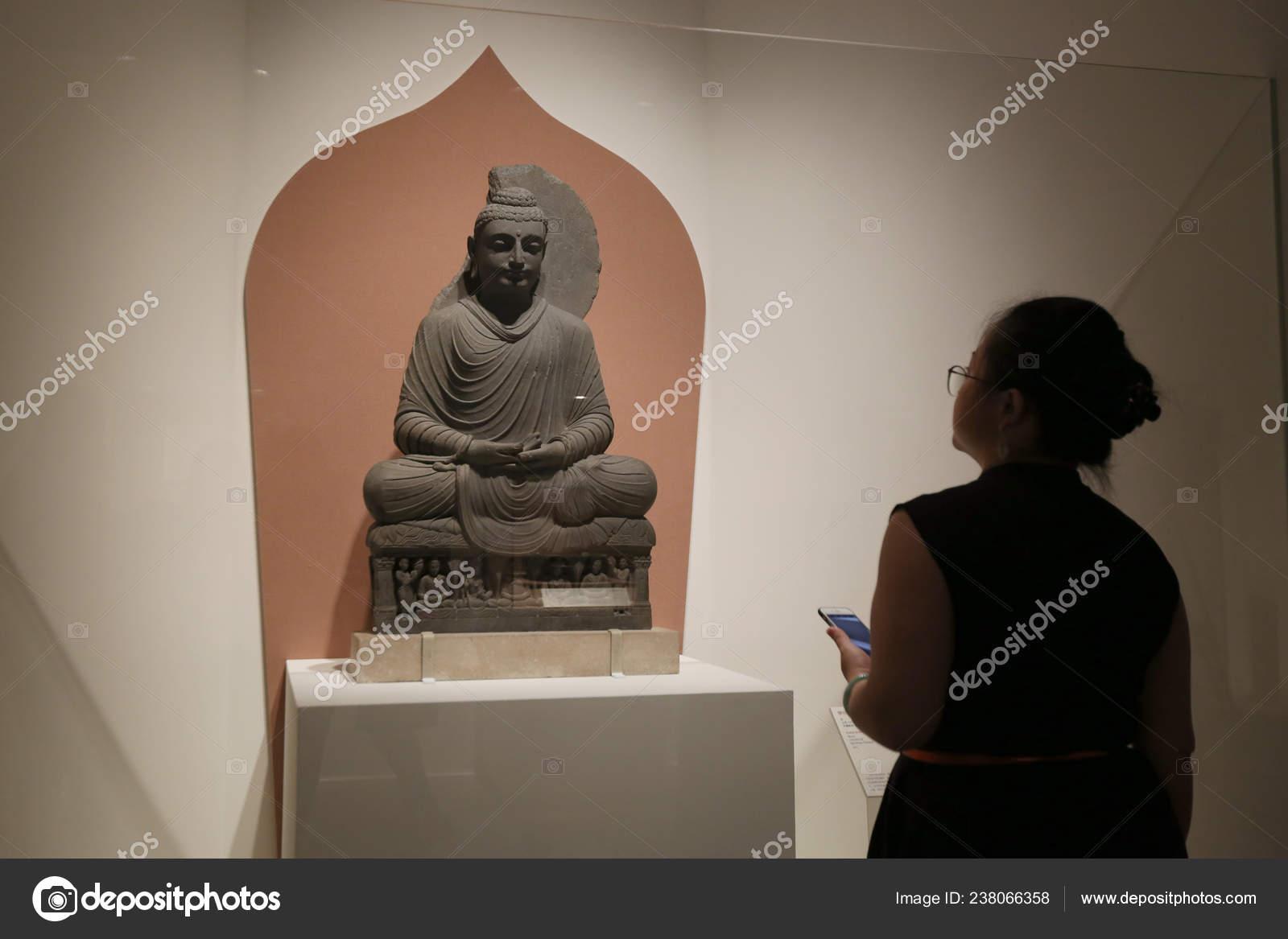 Visitor Looks Seated Buddha Gandhara Displayed Exhibition History World 100 Stock Editorial Photo C Chinaimages 238066358
