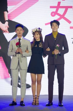 (From left) South Korean actor Lee Ji-hoon, singer and actress Kwon Yu-ri (Yuri) of South Korean girl group Girls' Generation and South Korean actor Kim Young-kwang attend a press conference for the broadcasting of their new web drama