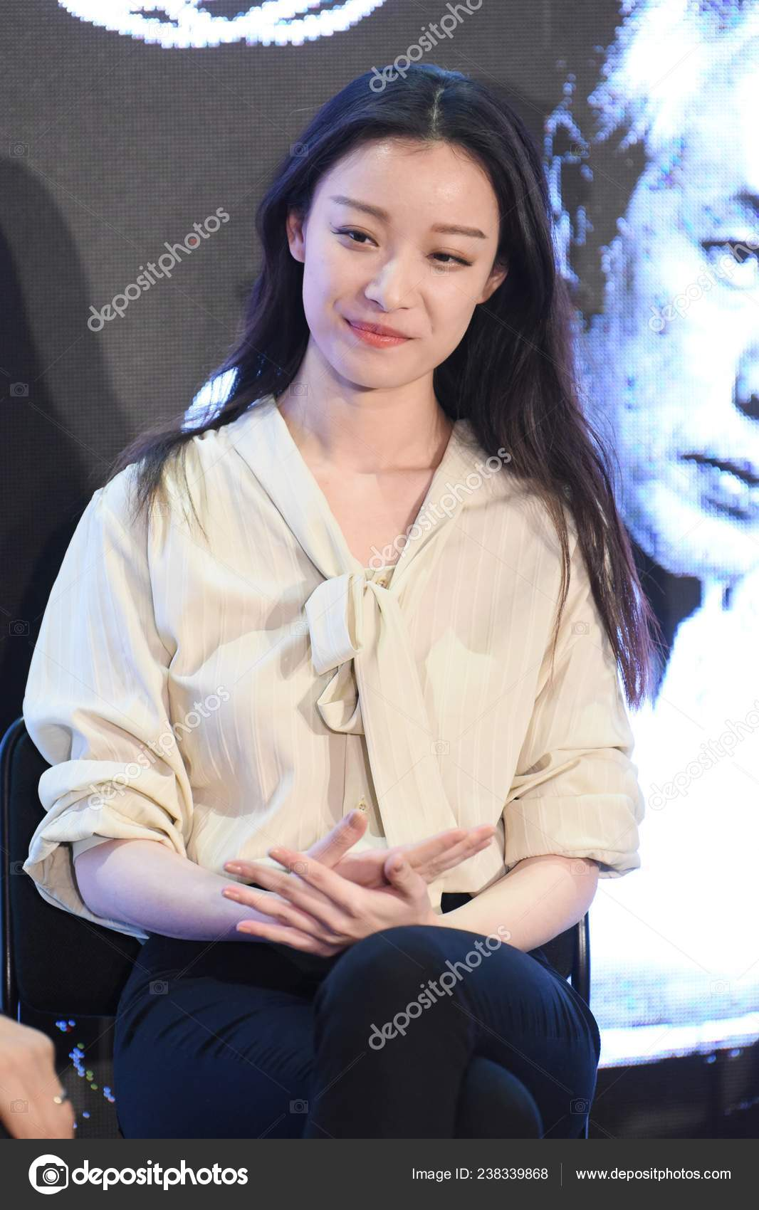 Chinese Actress Attends Press Conference New Drama Shanghai China