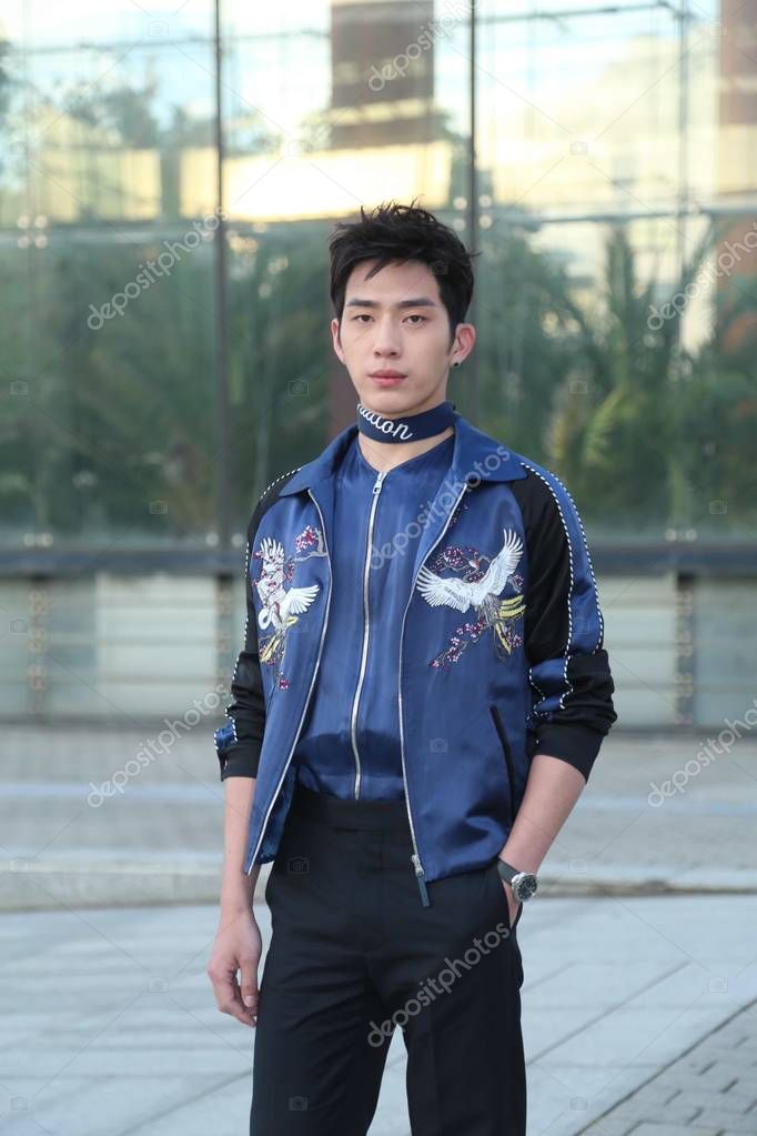 Chinese actor Jing Boran poses at the Louis Vuitton fashion show during the Paris Men's Fashion Week Fall/Winter 2016 in Paris, France, 21 January 2016.