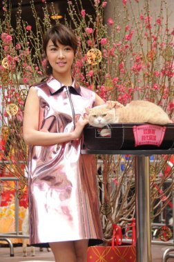 Hong Kong singer and actress Fiona Sit poses with a cat at an event to extend New Year greetings in Hong Kong, China, 9 February 2015.