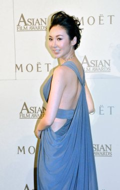 Malaysian actress Jacquline Ch'ng poses during the Moet-AFA Special Awards ceremony held by the Asian Film Awards Academy and Moet & Chandon in Hong Kong, China, 22 March 2015.