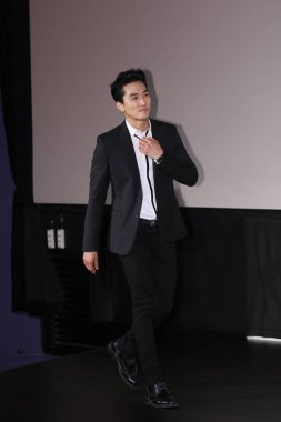 South Korean actor Song Seung-heon arrives at a press conference for his movie