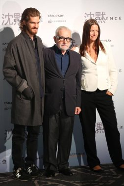 (From left) British actor Andrew Garfield, American director Martin Scorsese and producer Emma Koskoff pose during an international press conference for their movie