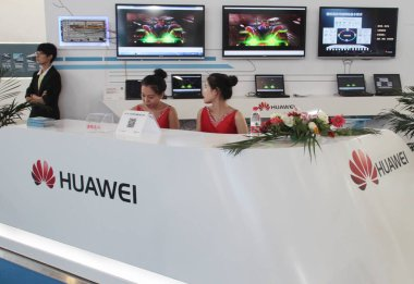 View of the stand of Huawei during a fair in Beijing, China, 17 June 2015.
