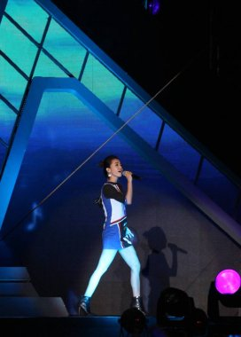 Taiwanese singer Jolin Tsai performs at a concert during a music festival in Xiamen city, southeast China's Fujian province, 18 October 2015.