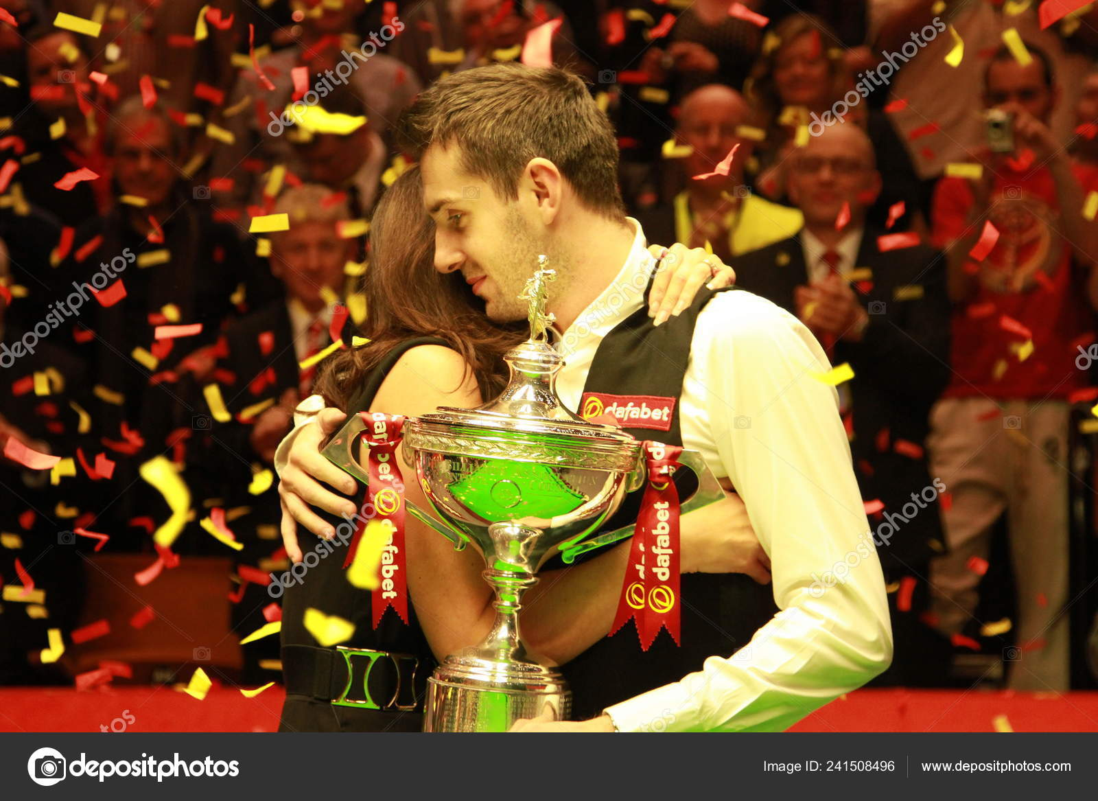 Mark Selby England Right Hugs His Wife Vikki Layton Celebrate ...